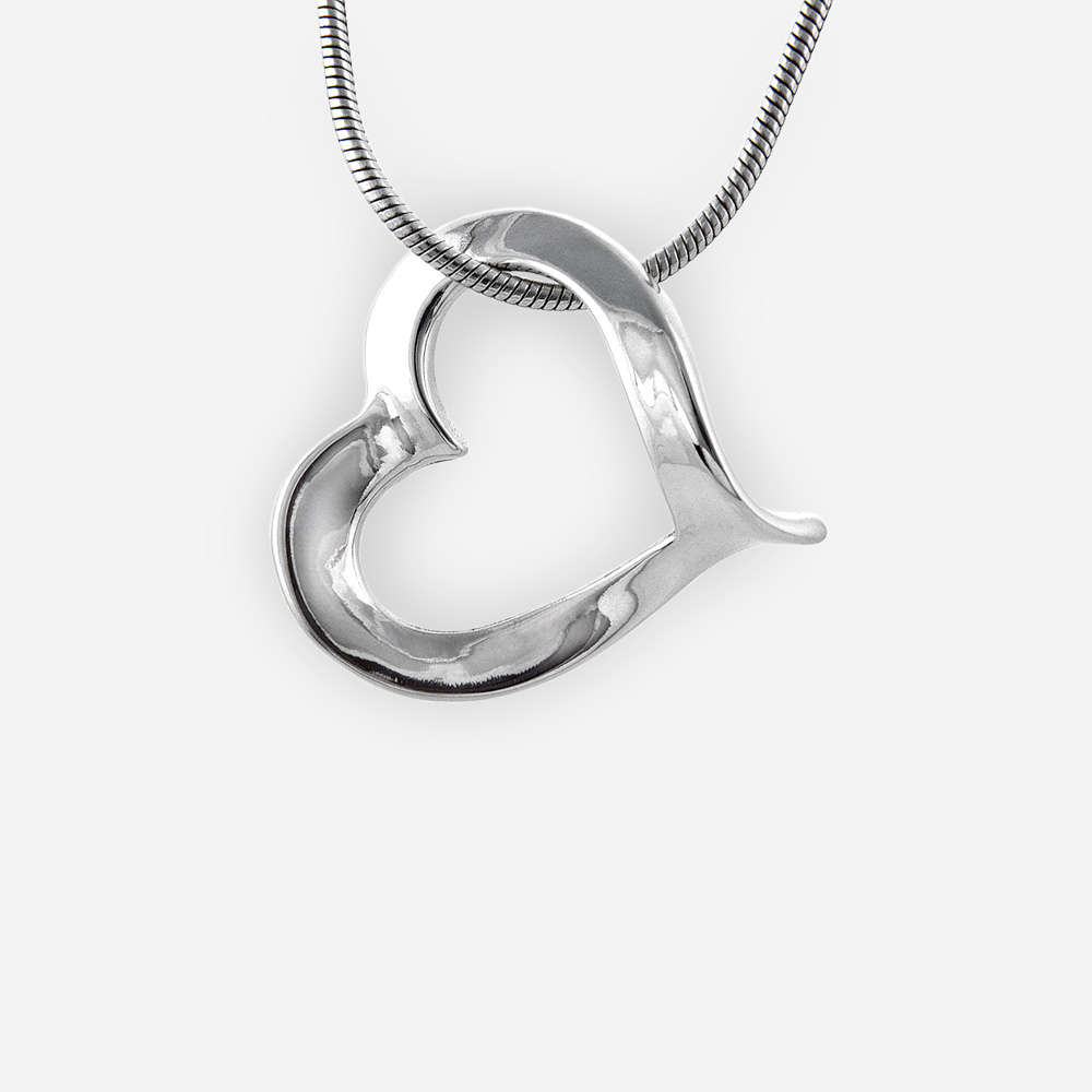 Polished sterling silver heart pendant crafted from 925 sterling silver.