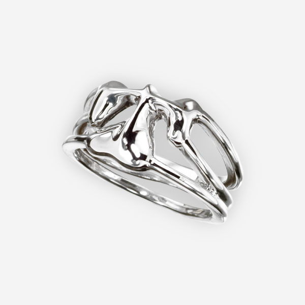Polished sterling silver shamrock ring featuring a single sculpted shamrock design.