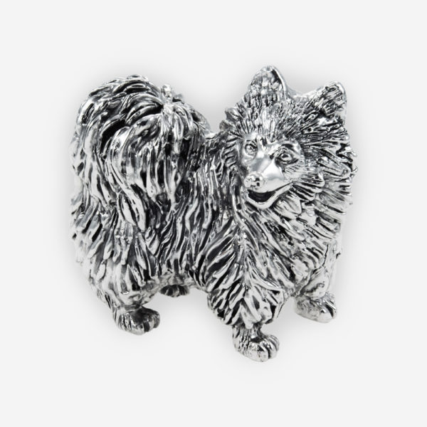 Pomeranian Sculpture made by electroforming process dipped in silver .999