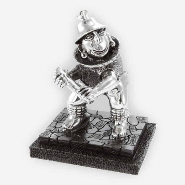 Pre- Hispanic Beisbol player Silver Sculpture crafted with electroforming techniques and dipped in silver .999