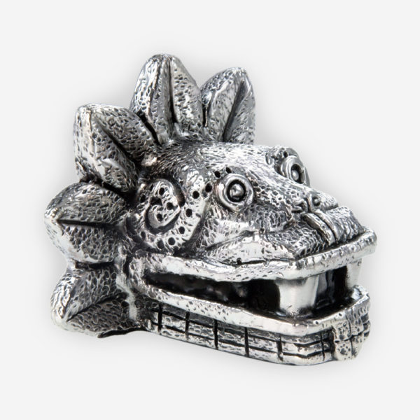 Pre-Hispanic Quetzalcoatl Silver Mask crafted with electroforming techniques and dipped in silver .999