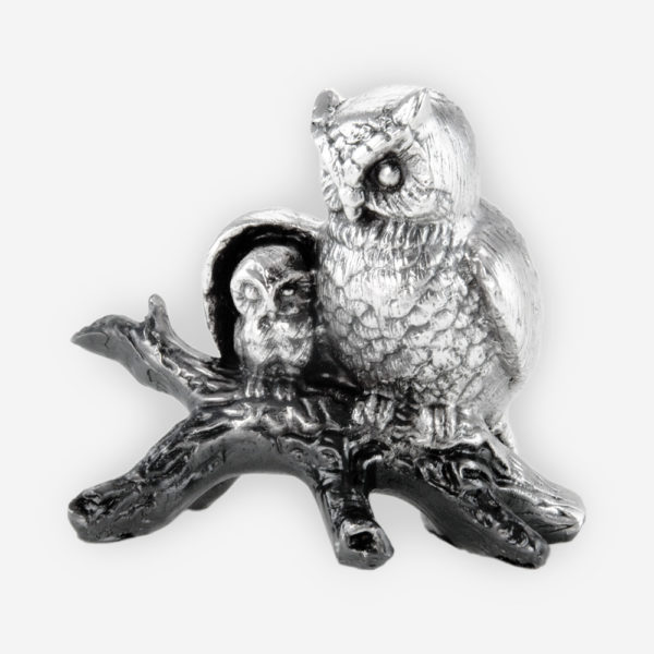 Protective Owlet with Baby owl Silver Sculpture crafted with electroforming techniques and dipped in silver .999