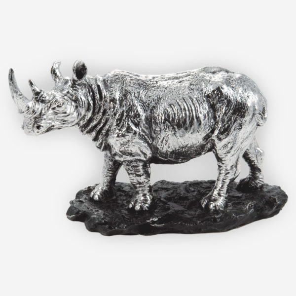 Rhino Sculpture made by electroforming process dipped in silver .999