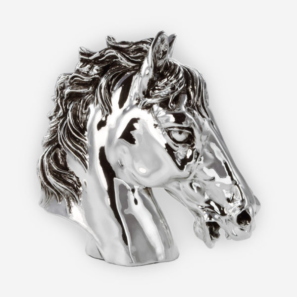 Horse Head Silver Sculpture crafted with electroforming techniques and dipped in silver .999