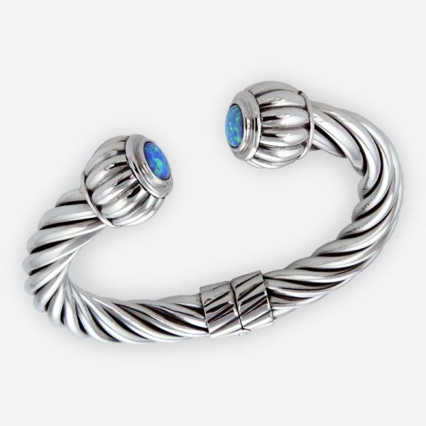 Round cabochon thick twisted cable bracelet crafted from 925 sterling silver with a round cabochon set on either end.
