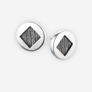 Round cutout silver herringbone weave posts have a diamond shaped design and crafted from 925 sterling silver.