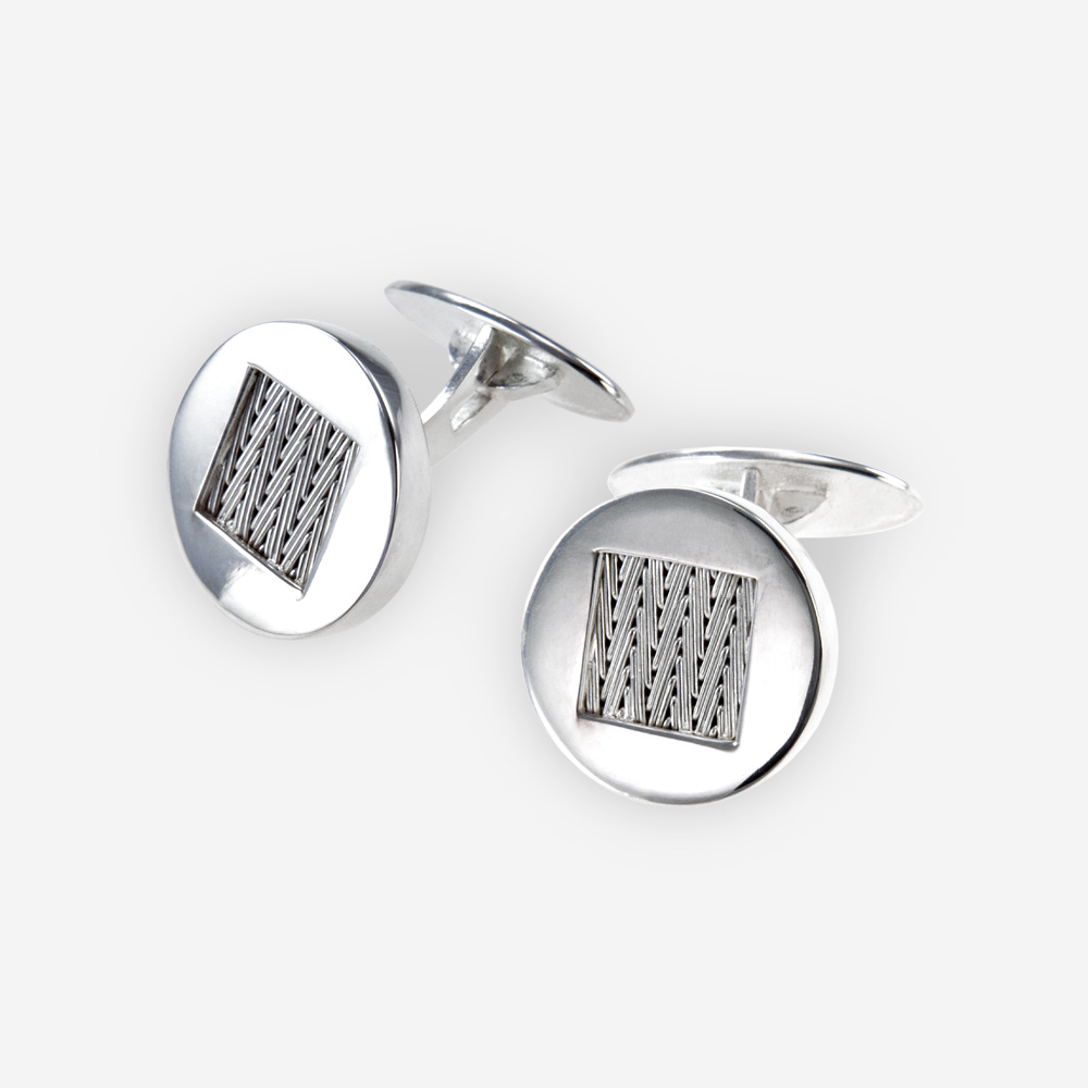 The Round Silver Cufflinks, in sterling silver with braided detail.
