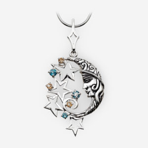 Round silver lunar pendant with topaz and citrine crafted in 925 sterling silver.