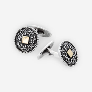 Sterling Silver Cufflinks with 14k gold diamond shapes embossed.