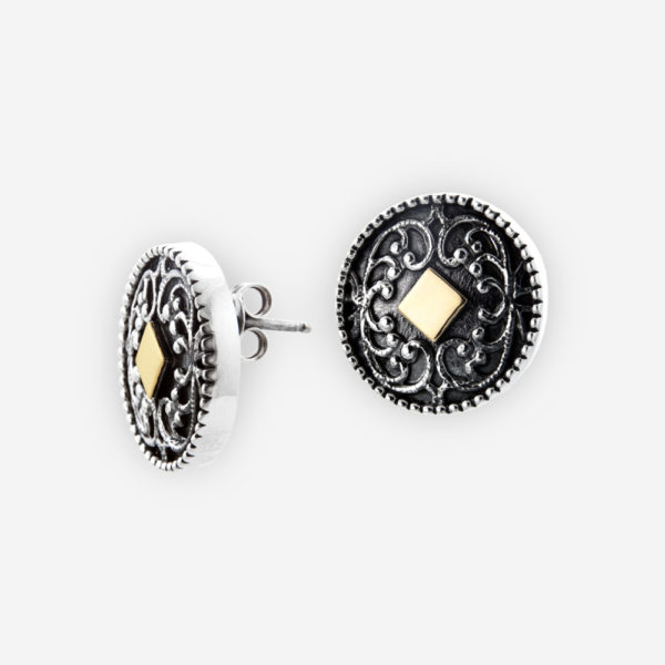 Sterling Silver Stud Earrings with 14k gold diamond shapes embossed.