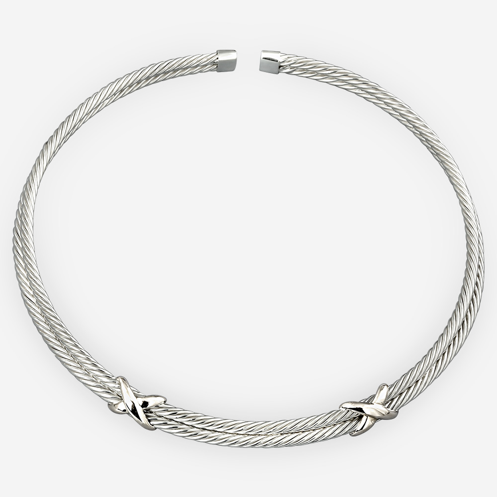 Sculpted silver twisted cable choker made from 925 sterling silver.