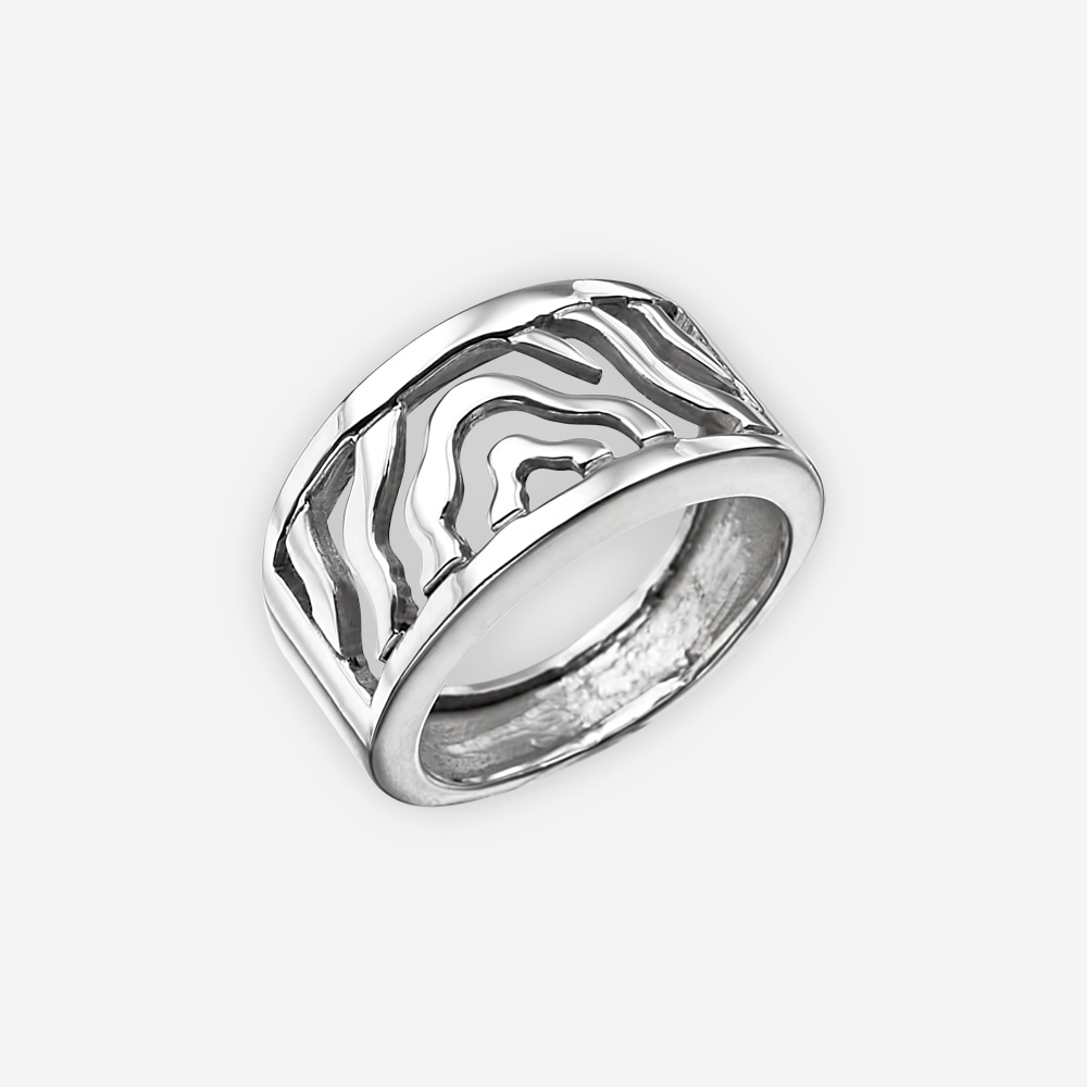 Highly polished modern sterling silver ring with abstract wave design and wide band.