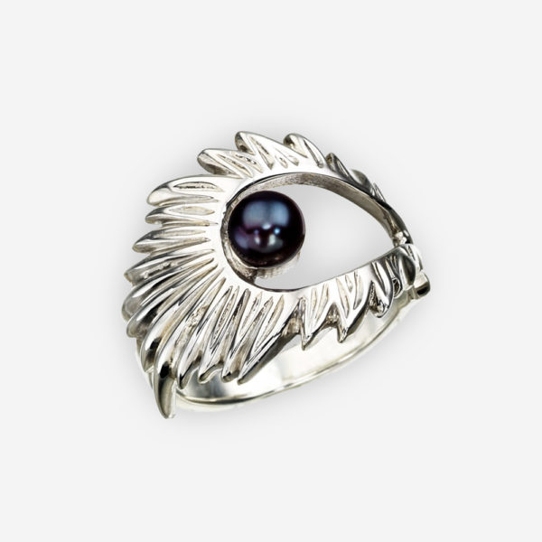 Silver Aurora Borealis ring set with a single black pearl.