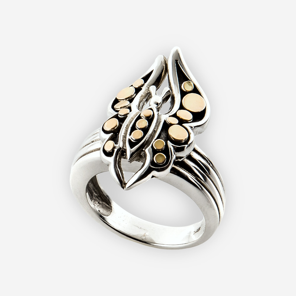The Silver Butterfly Ring with Gold Dots, in sterling silver with a butterfly on top and details in gold
