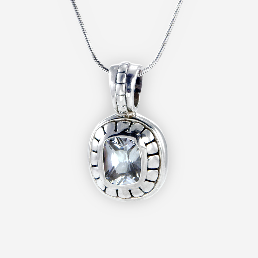 Cubic Zirconia Cushion pendant, in sterling silver with blue cubic zirconia.