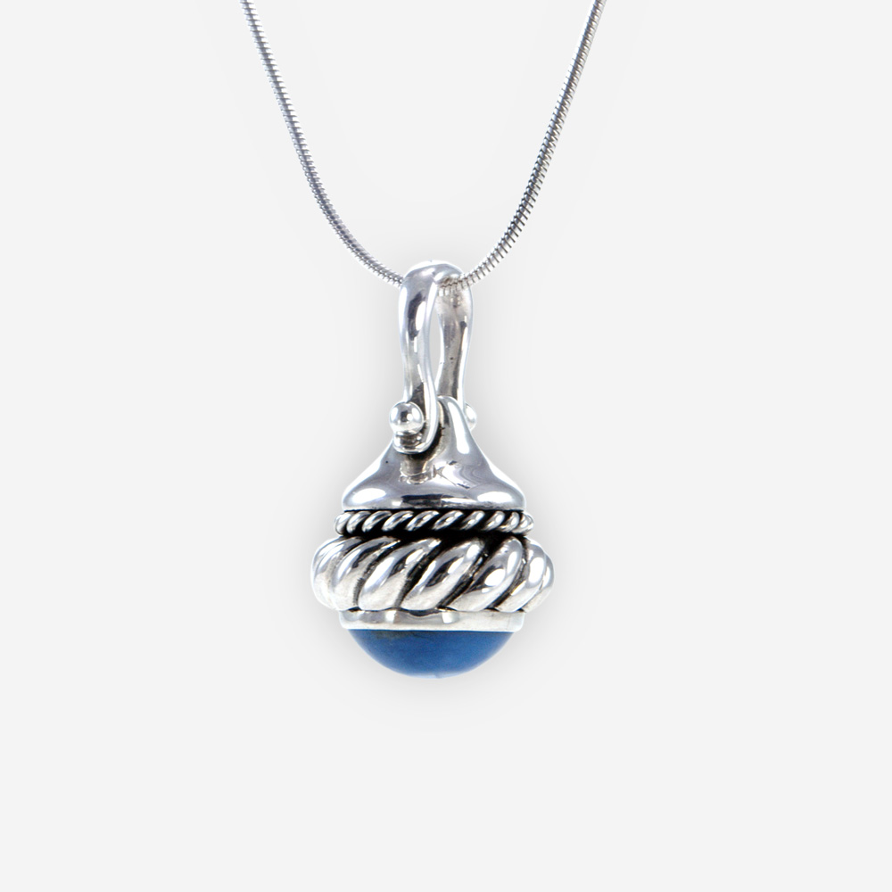 The silver Chain and Opal Charm, in sterling silver, with a Opal stone and cascade chain.