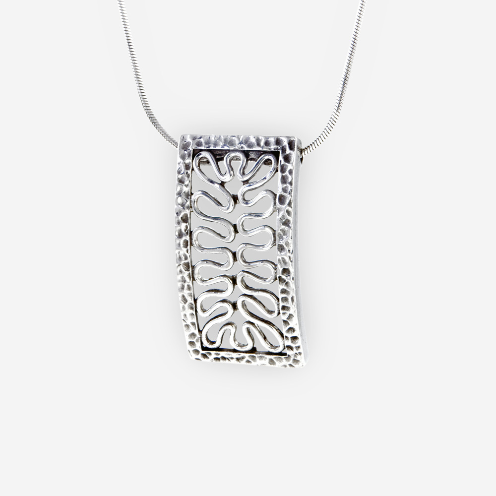 The Silver Chain and Weave Charm in sterling silver with cascade style chain