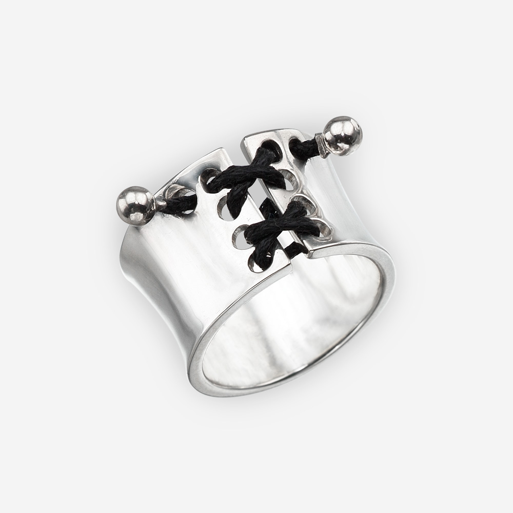 Silver corset ring with black corset lacing and a high polished finish.