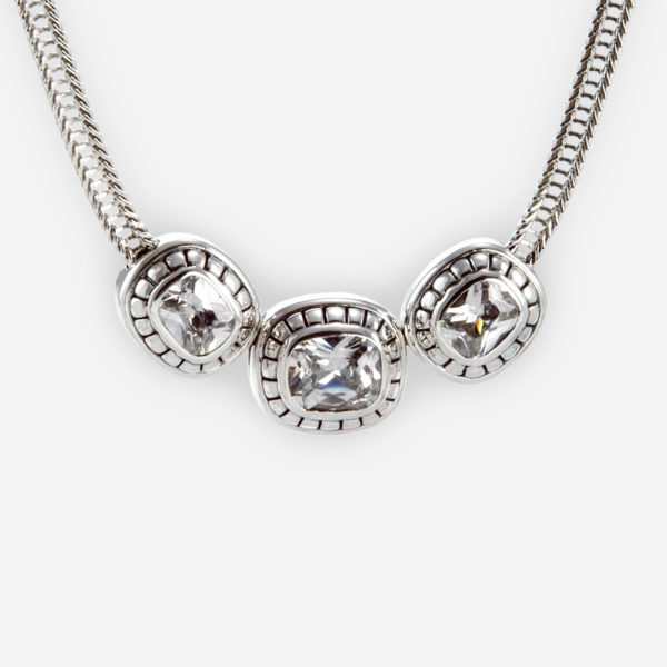The Silver and Cubic Zirconia Necklace, in sterling silver features three blue cubic zirconia.
