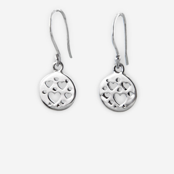 Silver cutout hearts medallion dangling earrings crafted from 925 sterling silver with a polished finish.