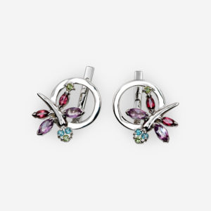 Silver dragonfly earrings with multiple gemstones with latch back closures.