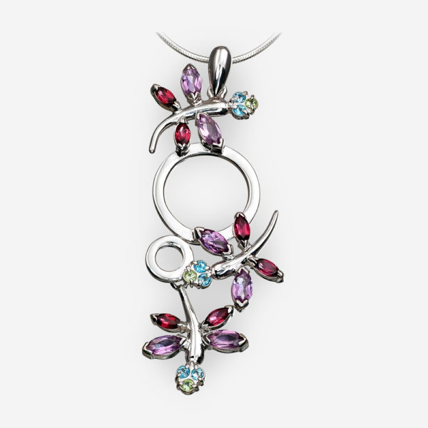 Silver dragonfly pendant set with amethyst, garnet, topaz gemstones.
