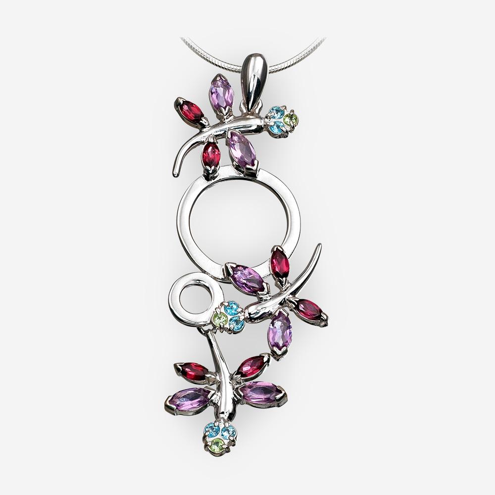 Silver dragonfly pendant set with amethyst, garnet, topaz gemstones.