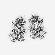 Silver fantasy dragon earrings crafted from 925 sterling silver and have a latch back closure.