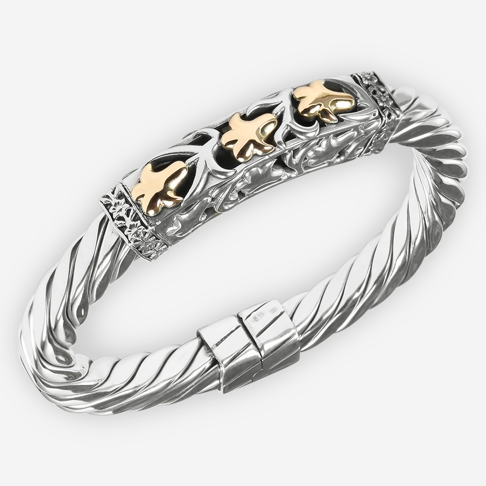 Sterling Silver Reticulated Cable Bracelet with Fig Leaves in 14k Gold