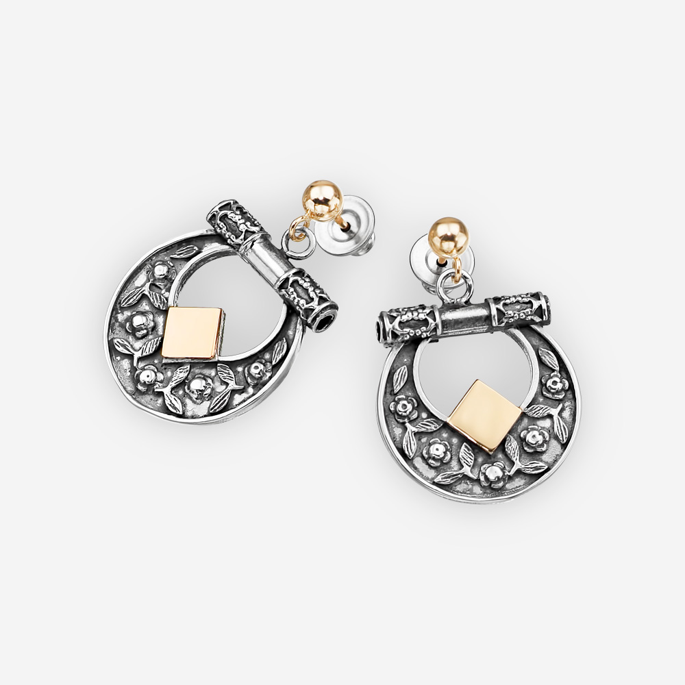 Silver floral dangle earrings crafted from 925 sterling silver and 14k gold with gold posts