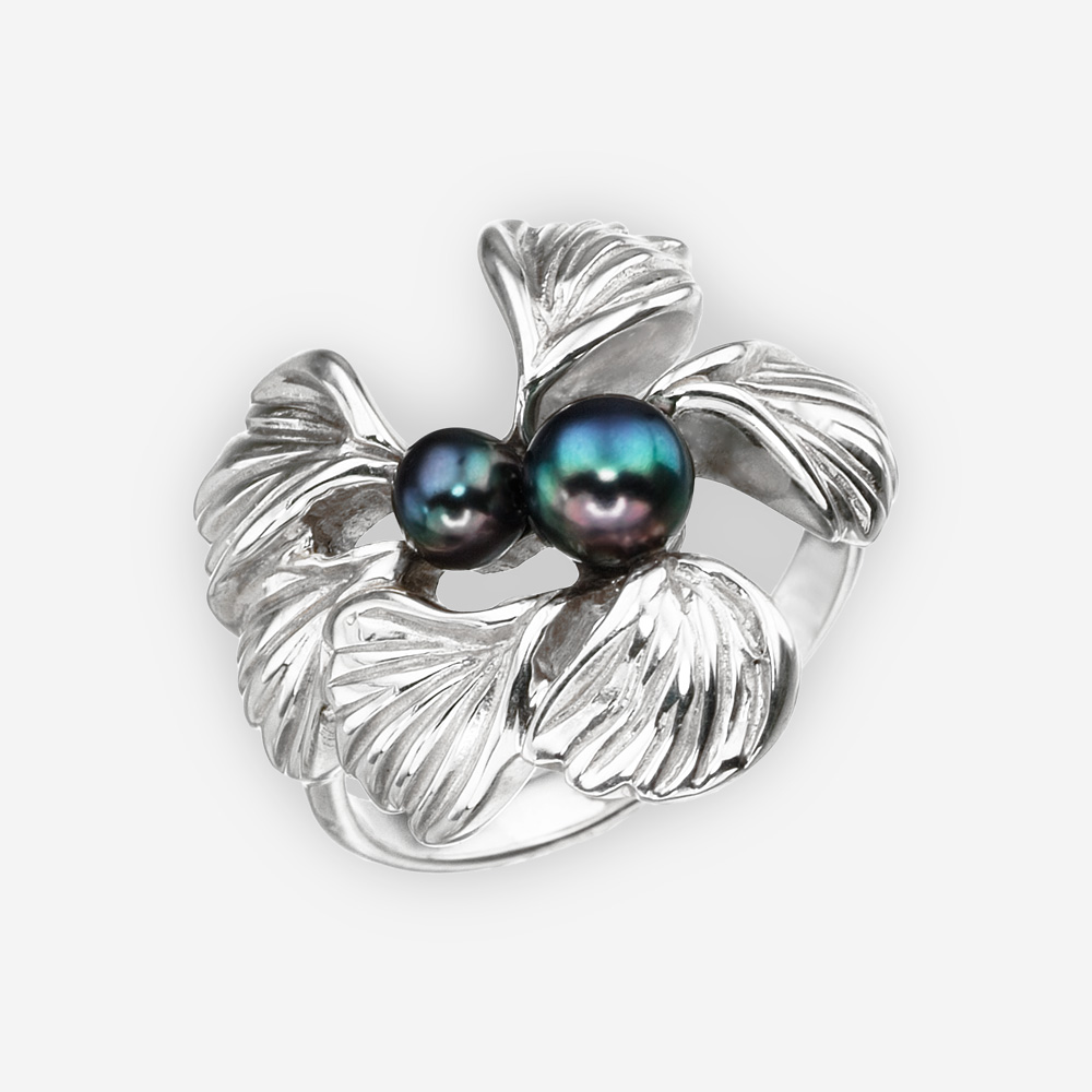 Silver flower statement ring with black freshwater pearls and crafted from 925 sterling silver.