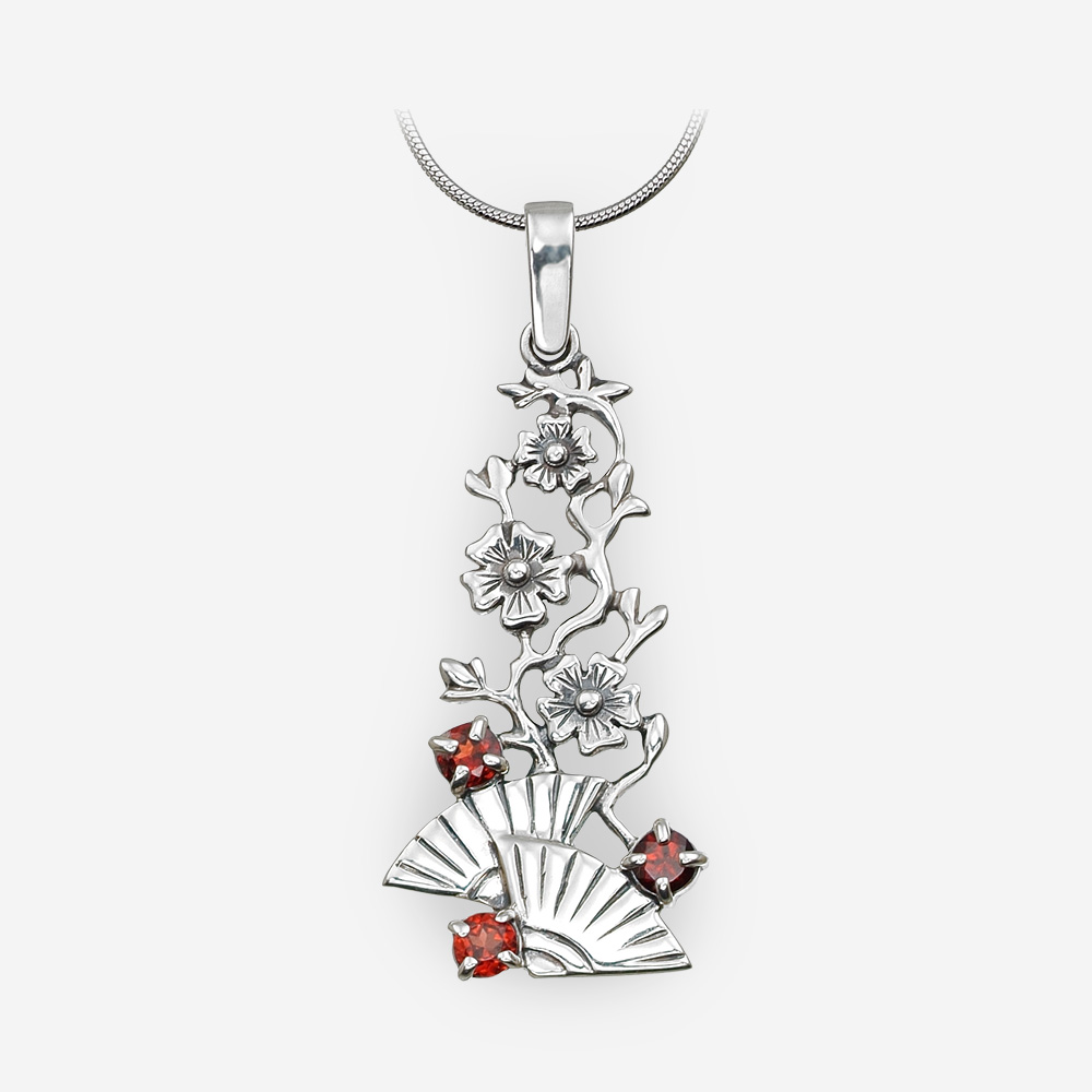 Silver garnet pendant with fans crafted in 925 sterling silver.