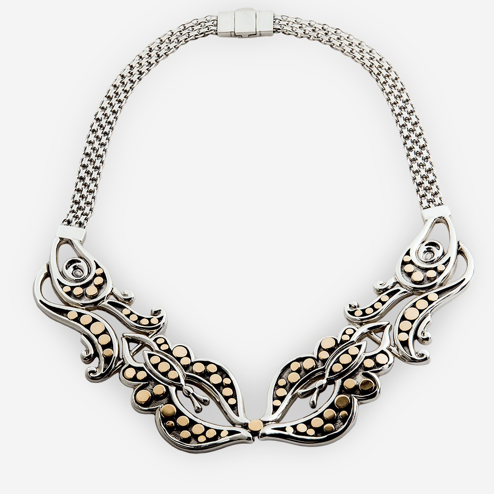 The Silver and Gold Butterfly Necklace, in sterling silver with lots of pretty details in gold.