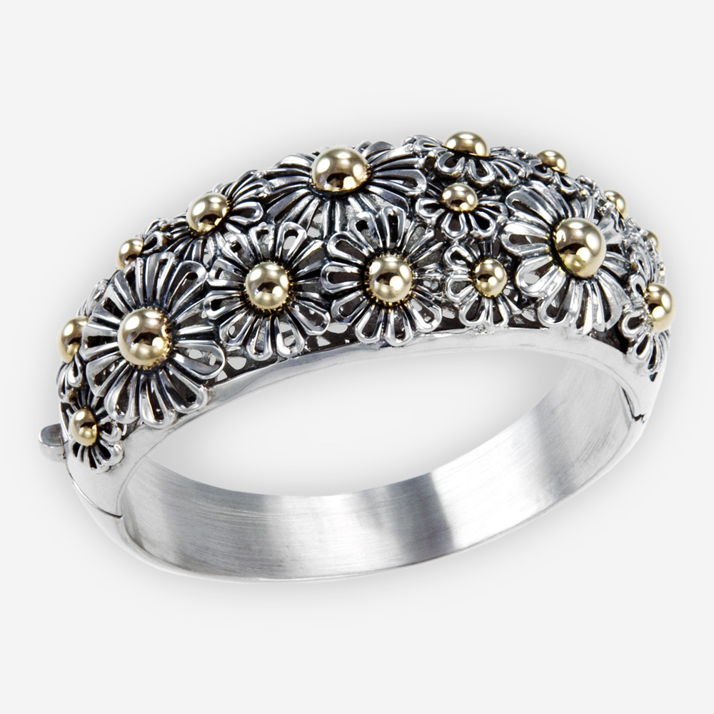 The Silver and Gold Daisies Bracelet, in sterling silver and gold. Also Features lots of pretty daisies.