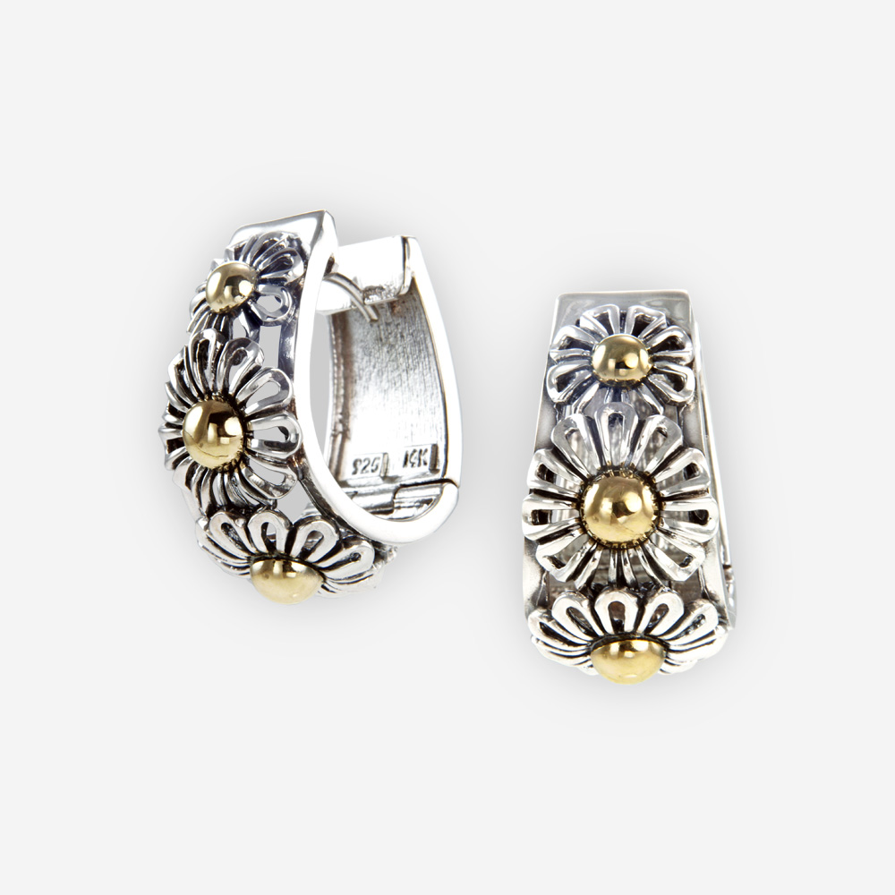 The Silver and Gold Daisies Earrings, in sterling. Also features lots of pretty daisies.