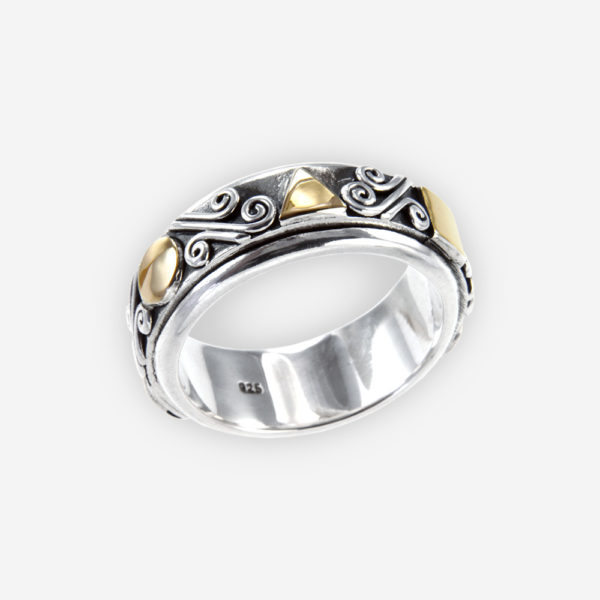 The Silver and Gold Spinning Ring, in sterling silver and gold with a spinning system
