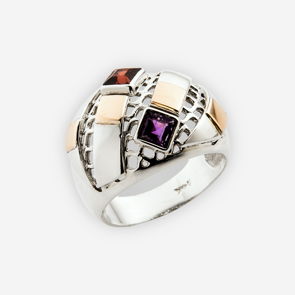 The Silver and Gold Trapeze Ring, in sterling silver, gold and natural amethysts and garnets