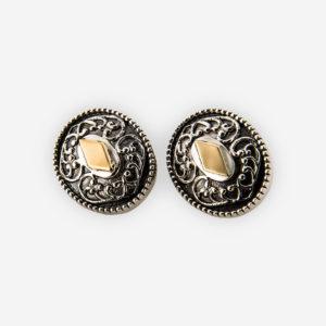 Aretes yemeníes de plata .925 grabados y con detalles de oro 14 kt.