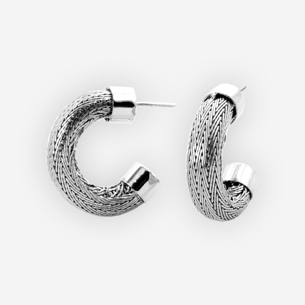 Silver Herringbone Chain Hoops feature handwoven herringbone chain, post backings, crafted in 925 sterling silver.