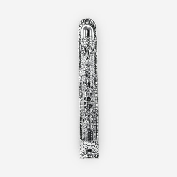 "Silver Judaic Mezuzah features lovely carved details with a symbol of """"shin"". Crafted with electroforming techniques and dipped in silver .999"