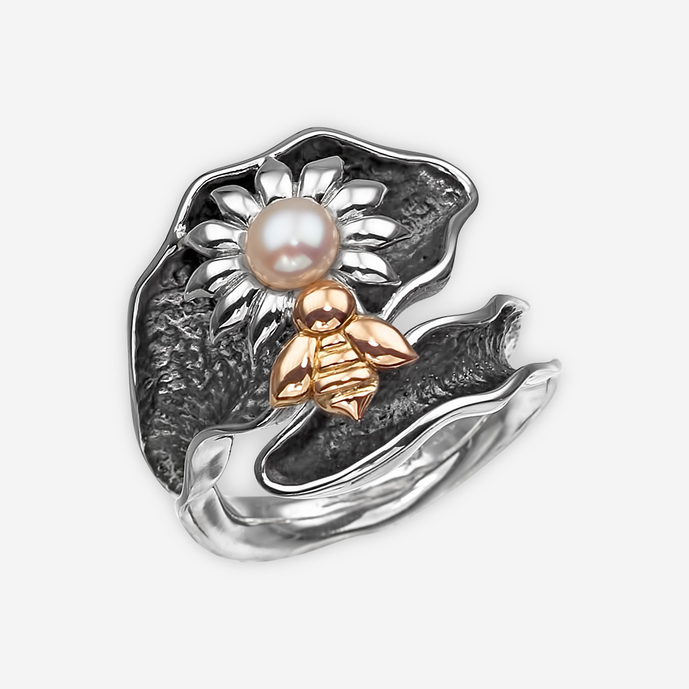 Silver leaf ring with a freshwater pearl flower and a 14k gold bee.
