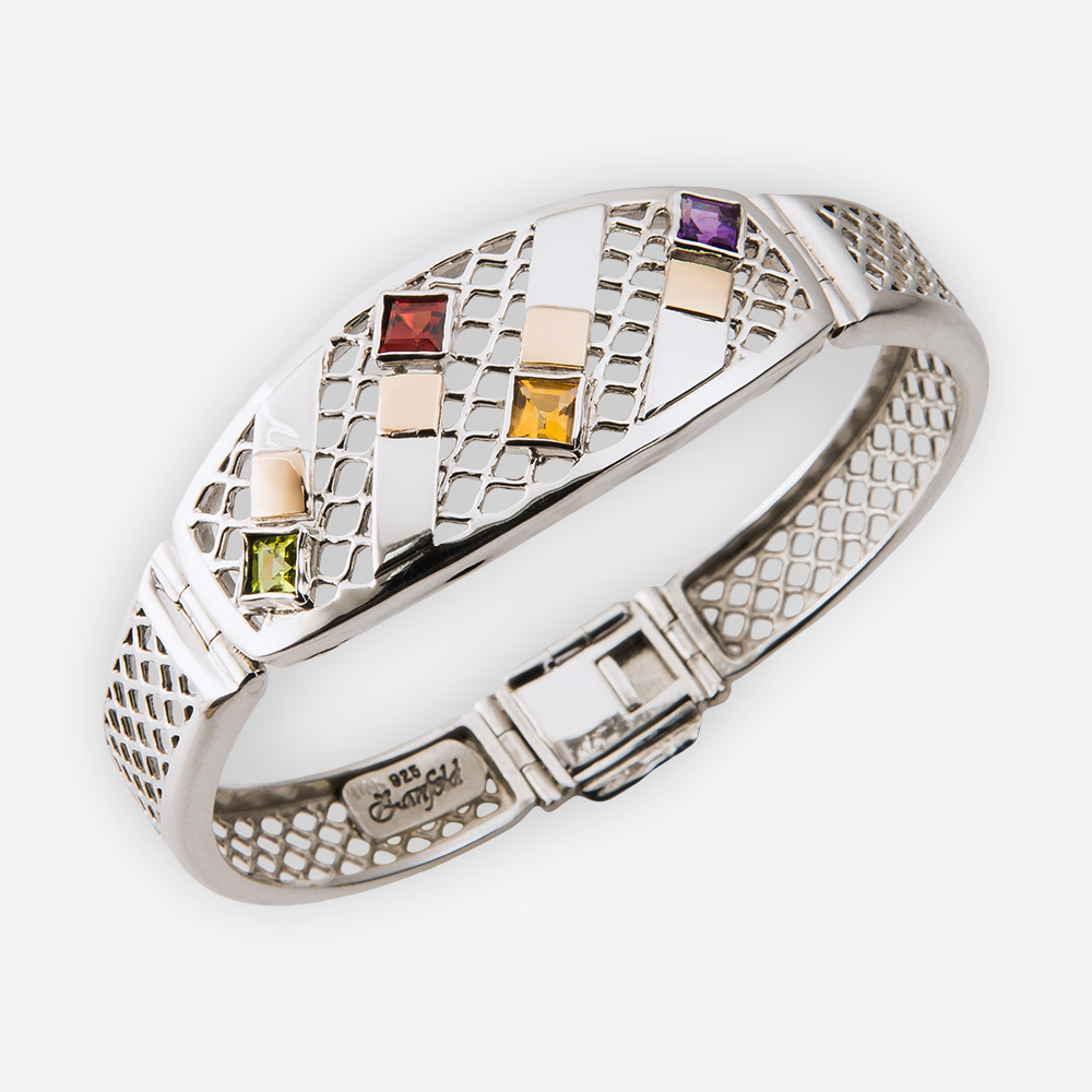 Silver mesh design bangle crafted from 925 sterling silver, embossed 14k gold, and four diamond-shaped stones.