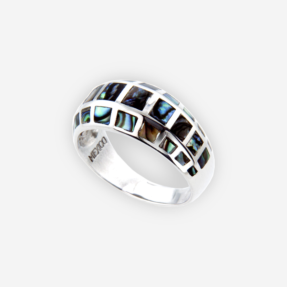 The Silver and Mother of Pearl Ring, in sterling silver with mother of pearl details and a wide top.