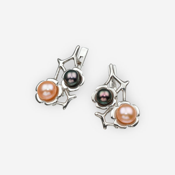 Silver multi-color pearl earrings with flowers in sterling silver and a latch back closure.