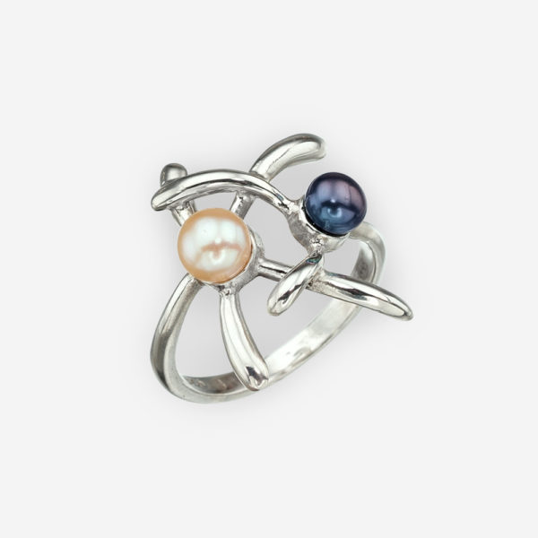 Silver multi-color pearl floral ring crafted in 925 sterling silver and set with black and pink freshwater pearls.