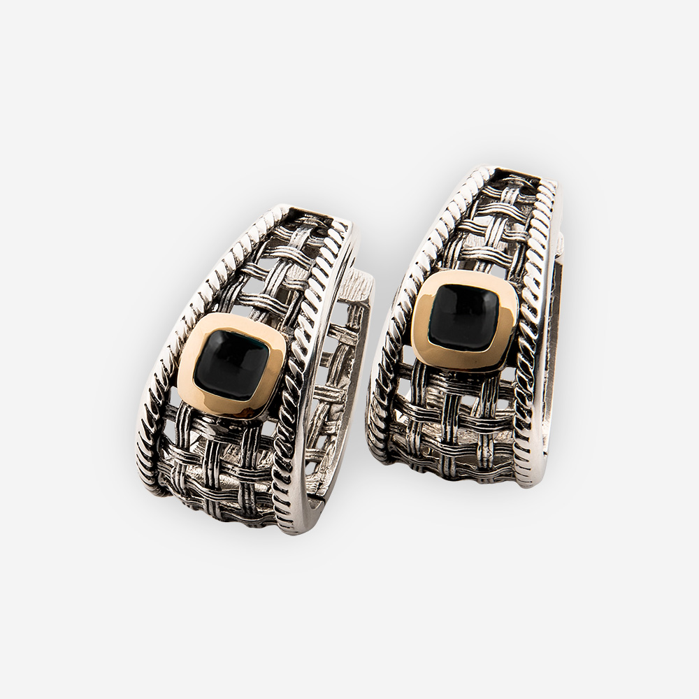 Silver onyx earrings with lattice-work complete with onyx cabochons in a 14k gold bezel and huggie closure.