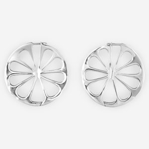 Silver Orange Slice Post Earrings with lever back closure and made from 925 sterling silver.