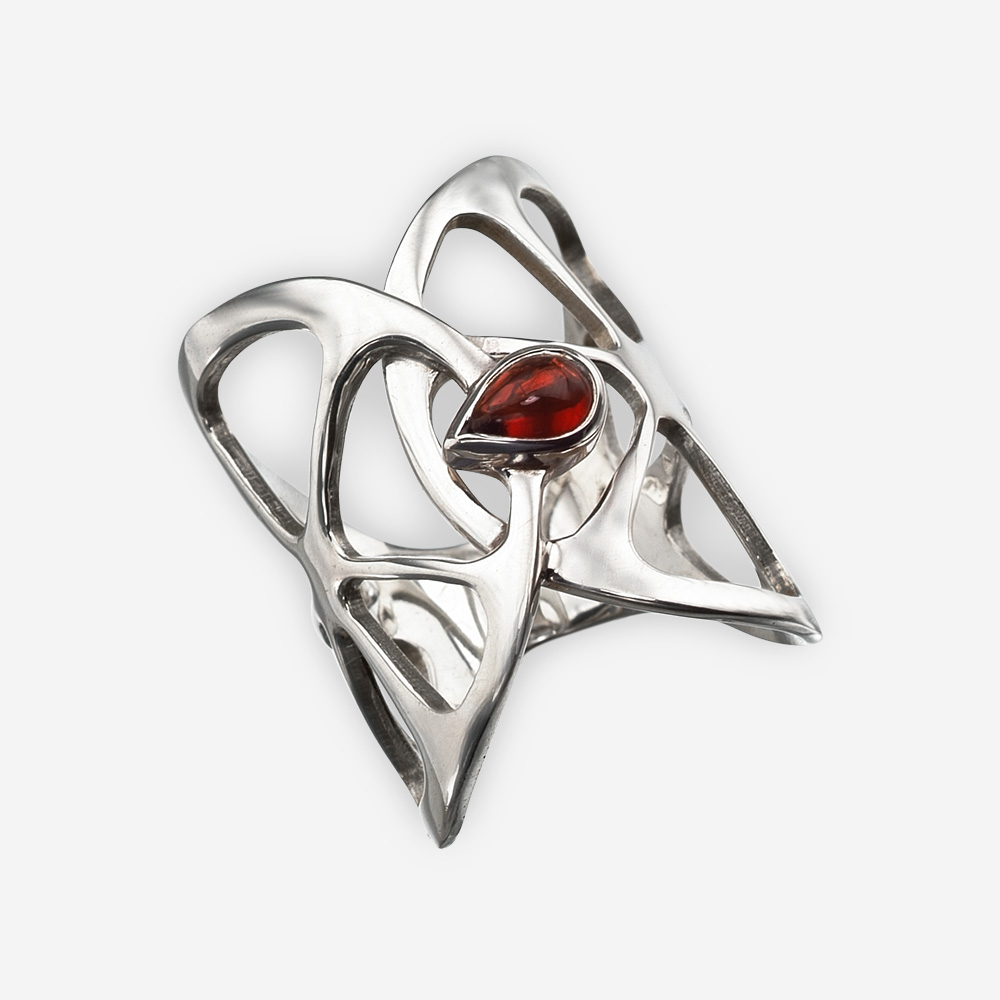 Silver oranges ring with a single garnet seed
