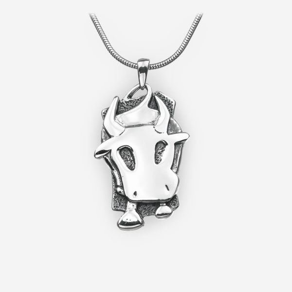 Silver oriental horoscope ox pendant crafted from 925 sterling silver.