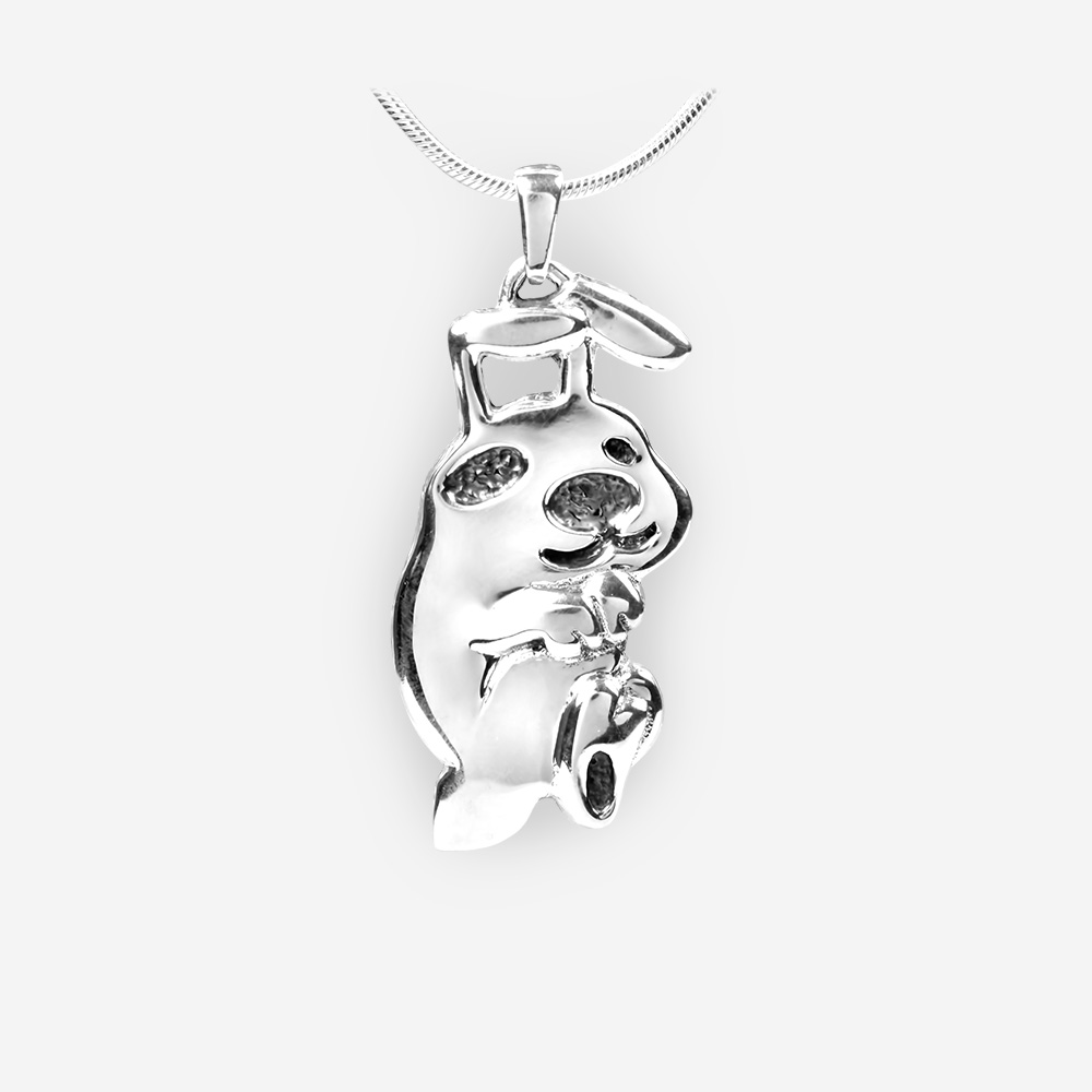 Silver rabbit pendant based on the oriental horoscope and crafted in 925 sterling silver.